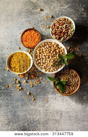 Healthy Food, Dieting, Nutrition Concept, Vegan Protein Source. Raw Of Legumes (chickpeas, Red Lenti