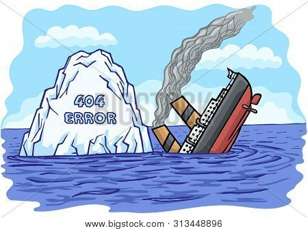 The Big Passenger Ship Collided With An Iceberg And Sank Into The Sea.