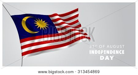 Malaysia Happy Independence Day Greeting Card, Banner, Horizontal Vector Illustration. Malaysian Hol