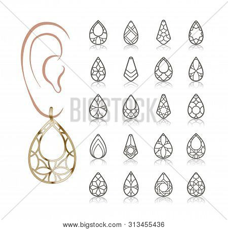 20 Earring Vector Templates. Cutout Silhouettes Like Teardrop. Design Is Suitable For Creating Delic