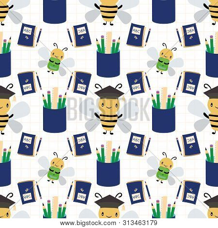 Cute Honey Bees With Books, Bags And Pencils Going Back To School. Seamless Vector Pattern On White