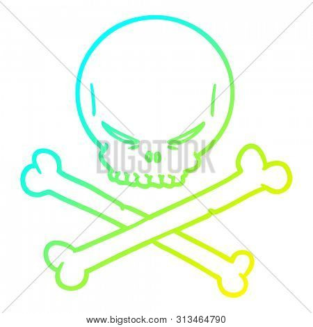 cold gradient line drawing of a cartoon skull and crossbones