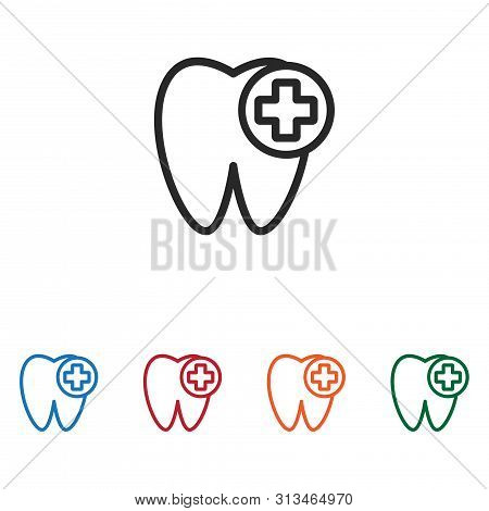 Tooth And Plus Icon Isolated On White Background. Tooth And Plus Icon In Trendy Design Style. Tooth