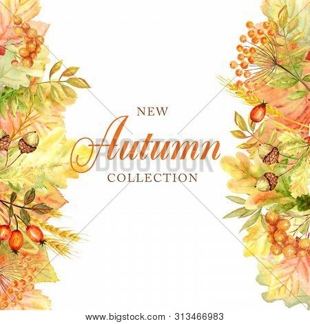 Autumn Leaf Frame Isolated On A White Background. Watercolor Autumn Leaf Hand Drawn Illustration. Ne