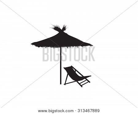 Deckchair Umbrella Summer Beach Holiday Symbol Silhouette Icon. Chaise Longue, Parasol Isolated. Sun