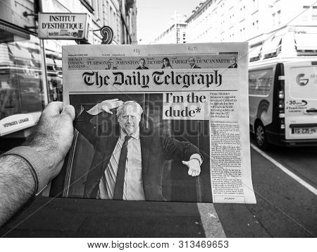 Paris, France - Jul 24, 2019: Boris Johnson Appears On Cover Page Of The Daily Telegraph Newspaper A