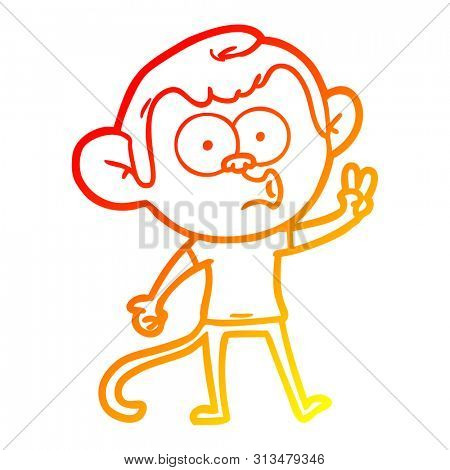 warm gradient line drawing of a cartoon hooting monkey poster