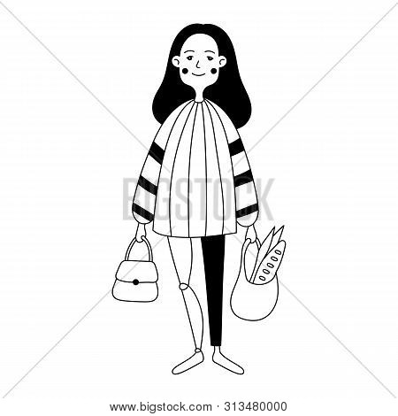 Illustration Of A Girl With A Prosthetic Leg. Simple Flat Style Vector Illustration. Life After Inju