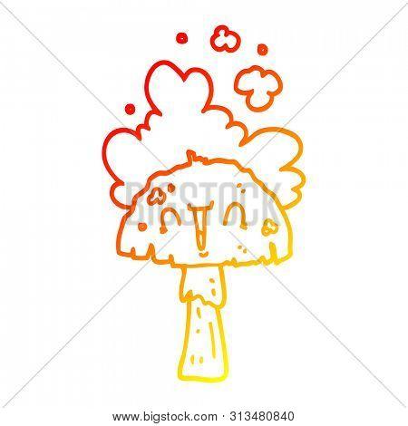 warm gradient line drawing of a cartoon mushroom with spoor cloud