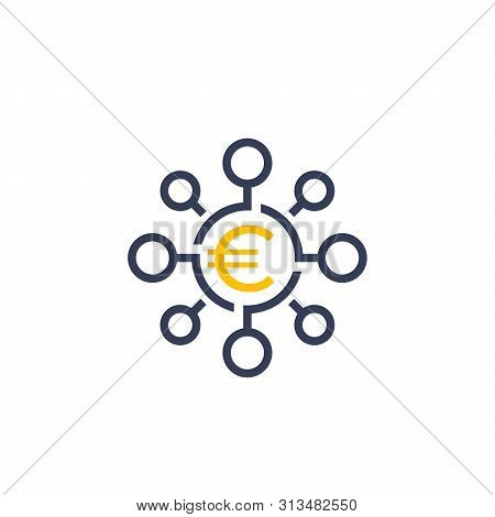 Financial Diversification, Diversified Investment Icon With Euro