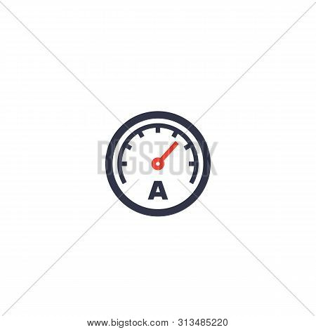 Ammeter Vector Icon On White, Eps 10 File, Easy To Edit