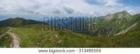 Beautiful Panoramic Mountain Landscape, View From Banikov Peak On Western Tatra Mountains Or Rohace