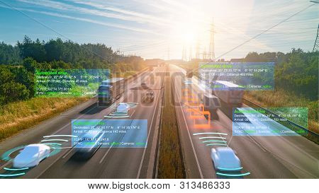 Smart Car (hud) , Autonomous Self-driving Mode Vehicle On Highway Road Iot Concept With Graphic Sens
