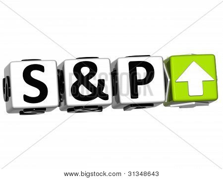 3D S&P500 Stock Market Block text on white background poster