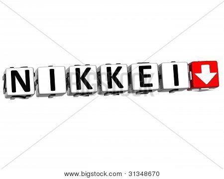 3D Nikkei Stock Market Block Text
