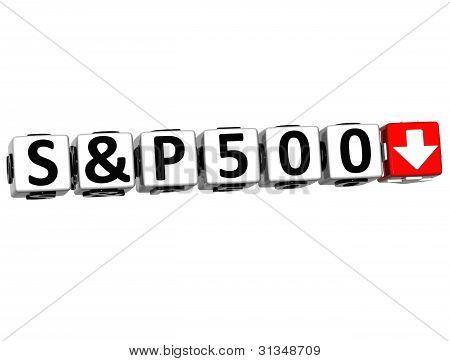 3D S&p500 Stock Market Block Text