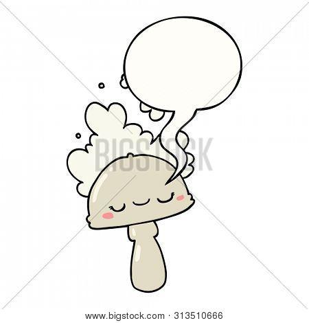 cartoon mushroom with spoor cloud with speech bubble