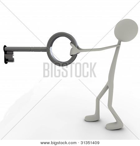 Figure With A Big Key