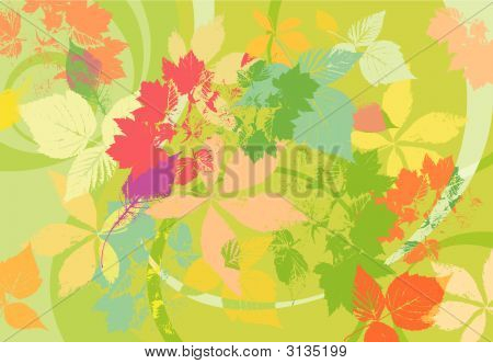 Summer Bright Green Background With Leaves