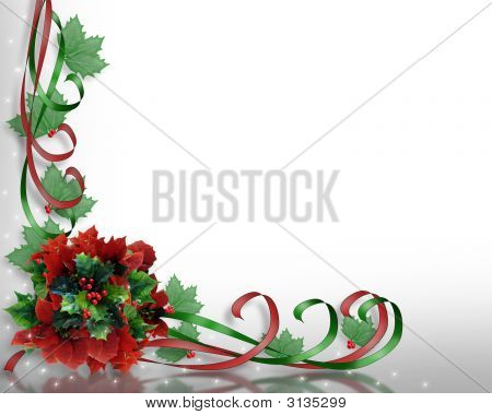 Christmas Corner Design Poinsettias And Ribbons
