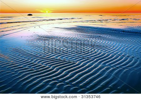 Sunset With Blue Sandbar