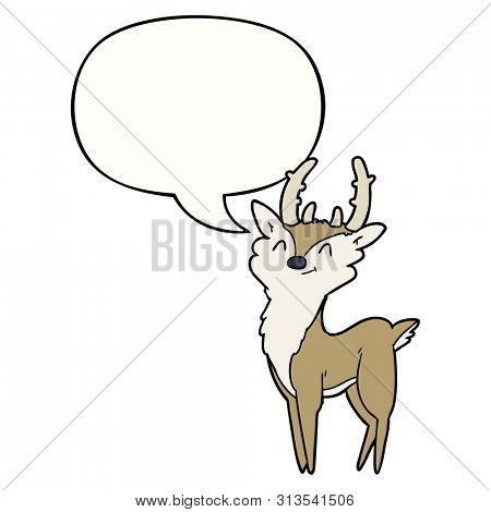 cartoon happy stag with speech bubble