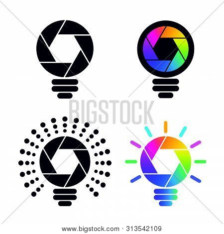 Colorful Shutter Shaped Bulb Symbols. Media And Photography Icons.