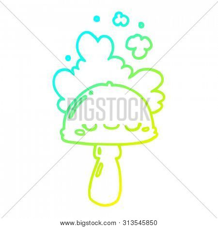 cold gradient line drawing of a cartoon mushroom with spoor cloud