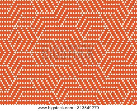 Abstract Dots Stripes, Line Seamless Pattern. Bright Colorful Business Background, Orange White Colo