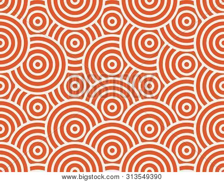 Abstract Circle, Line Seamless Pattern. Bright Colorful Business Background, Orange White Color. Lin
