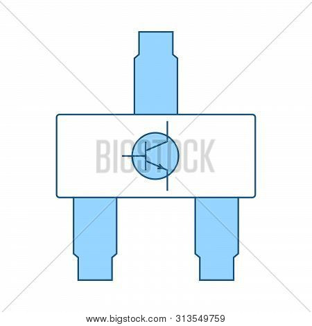 Smd Transistor Icon. Thin Line With Blue Fill Design. Vector Illustration.