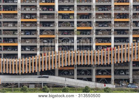 Tokyo, Japan - Mar 17, 2019: View Of A Multistorey Car Park In Tokyo. It Is Popular In Japan And Pro
