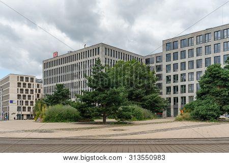 Elisabeth-schwarzhaupt-platz, Berlin, Germany - July 07, 2019: Facade Of The Nordbahnhof Carre Build