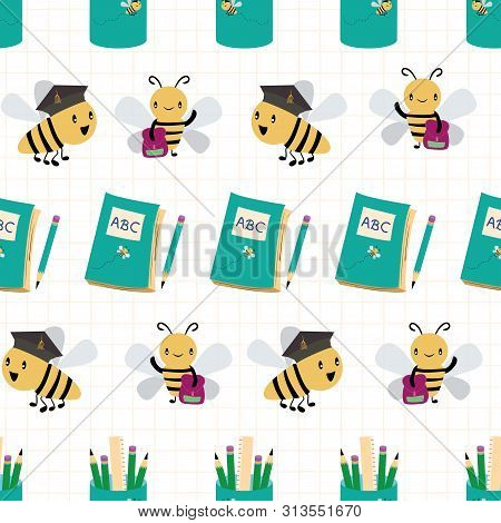 Cute Busy Bees With Books, Bags And Pencils Going Back To School Design. Seamless Vector Pattern On