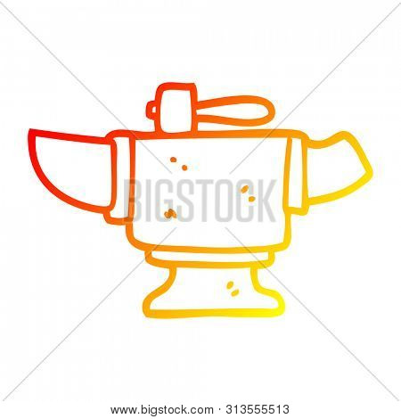 warm gradient line drawing of a cartoon heavy old anvil poster