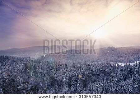 Landscape With Snow Covering Mountain Forest. Hiking In Nature On The Top Of The Mountain. Hiking In