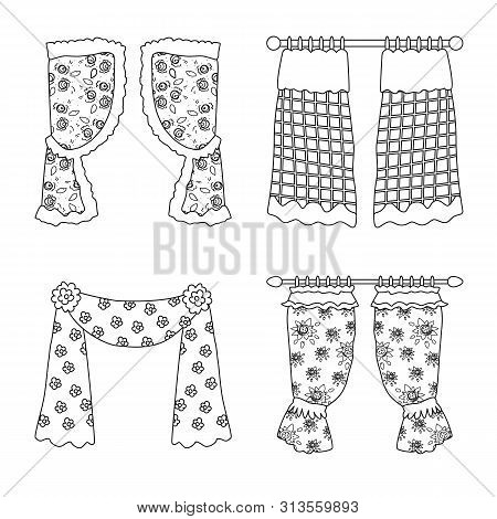 Isolated object of fabric and decoration icon. Collection of fabric and cornice stock symbol for web. poster