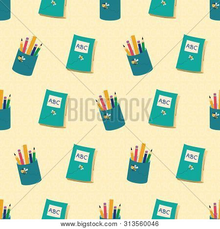 Blue Books And Pencils Design With Going Back To School Theme. Seamless Vector Pattern On Textured Y