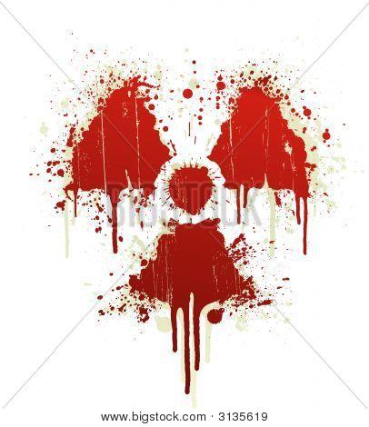 Radioactive Symbol Blood Splatter