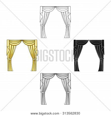 Curtains with drapery on the cornice.Curtains single icon in cartoon style bitmap symbol stock illustration web. poster
