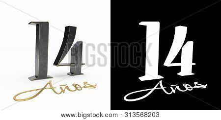 Inscription In Spanish. Golden Number Fourteen Years (number 14 Years) And The Inscription Years Wit