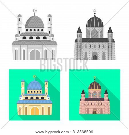 Vector illustration of cult and temple symbol. Set of cult and parish stock symbol for web. poster