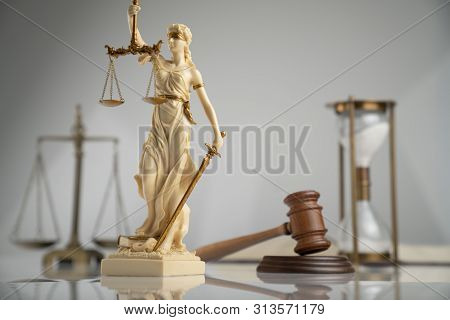 Gavel, Themis Statue, Hourglass And Golden Scale Of Justice On White Background.
