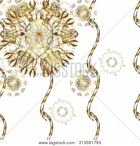 Classic Raster Golden Seamless Pattern. Floral Ornament Brocade Textile Pattern, Glass, Metal With F