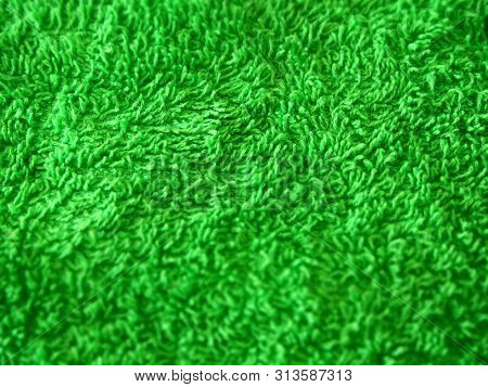 Soft Green Towel Textured Surface. Natural Material Background