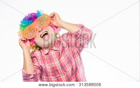 Man Senior Bearded Cheerful Person Wear Colorful Wig And Sunglasses. Having Fun. Funny Lifestyle. Fu