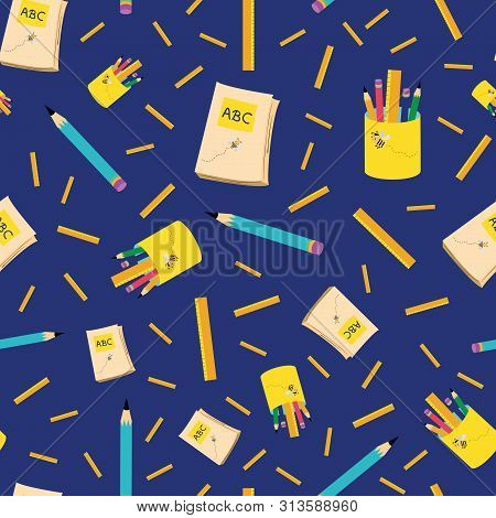 Bright Blue And Yellow Back To School Design With Pencils, Notebooks And Rulers. Seamless Vector Pat