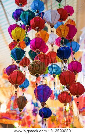 Colorful Of Tradition Lanterns At Chinatown Lantern Market In Saigon, Vietnam. Beautiful Chinese Lan