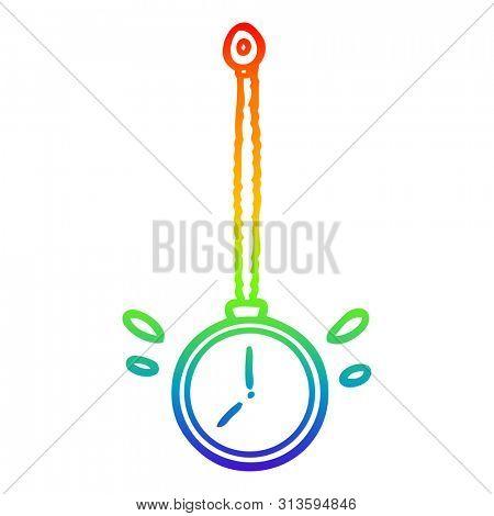 rainbow gradient line drawing of a swinging gold hypnotist watch