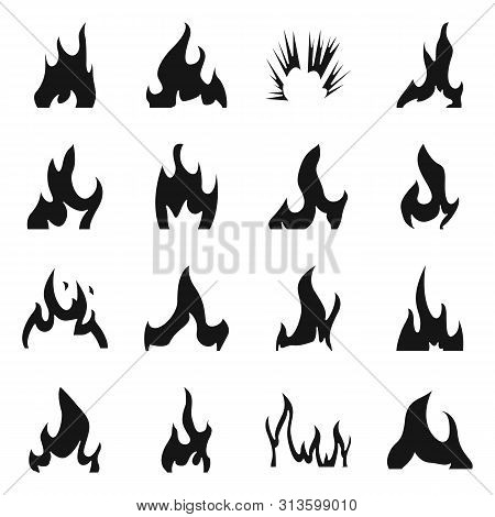 Vector Design Of Blazing And Wildfire Logo. Collection Of Blazing And Red Stock Vector Illustration.